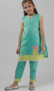 812293bf46 Here is another latest dress by khaadi kids collection. Turquoise color  Sleeveless Kurta in lawn stuff With Side Embroidered Panels Along With  Embroidered ...