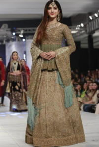 c06fb8b3ba7 Here is another bridal dress designed by HSY. This is short frock with  fluffy lehnga in beautiful sea green and skin color combinations with a  small touch ...